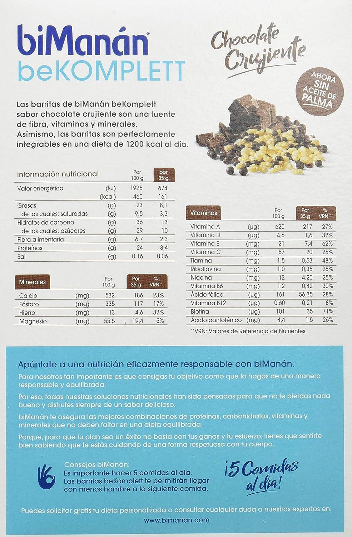 biManán beKOMPLETT Barritas de Chocolate crujiente. Ricas en proteínas y fibra, con 12 vitaminas y 4 minerales. Sin gluten. Caja de 8 unidades