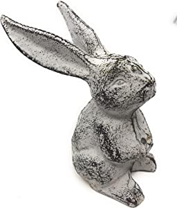 "CTW Cute Long Eared Bunny Rabbit Figurine Home Décor, 5"" Tall x 4.25"" Deep x 3.75"", White, Black"