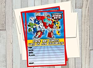 12 Transformers Rescue Bots - Birthday Invitations (12 5x7in Cards, 12 Matching White envelopes)