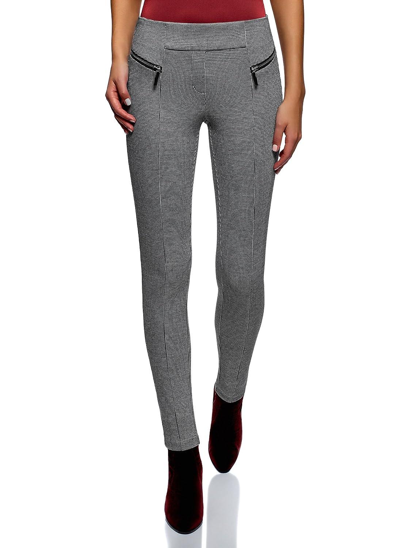 oodji Collection Femme Pantalon Moulant avec Zips Décoratifs ... 5635d1773993