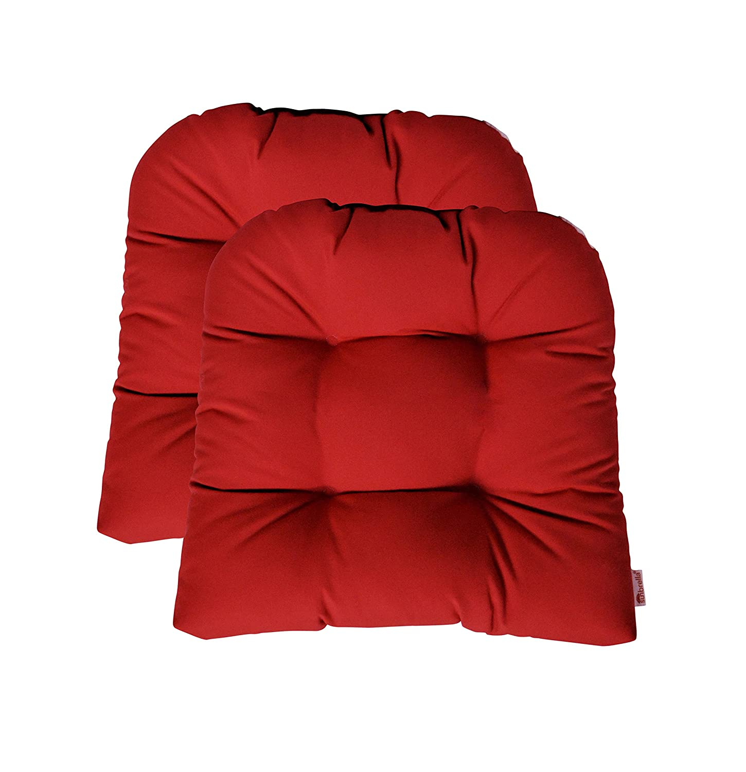 RSH Décor Indoor ~ Outdoor Sunbrella Tufted Wicker - Set of 2 ~ U-Shaped Chair Cushions ~ Choose Color (Canvas Jockey Red)