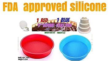 Set de 2 moldes de silicona moldes de pastel para hornear redonda (, paleta de