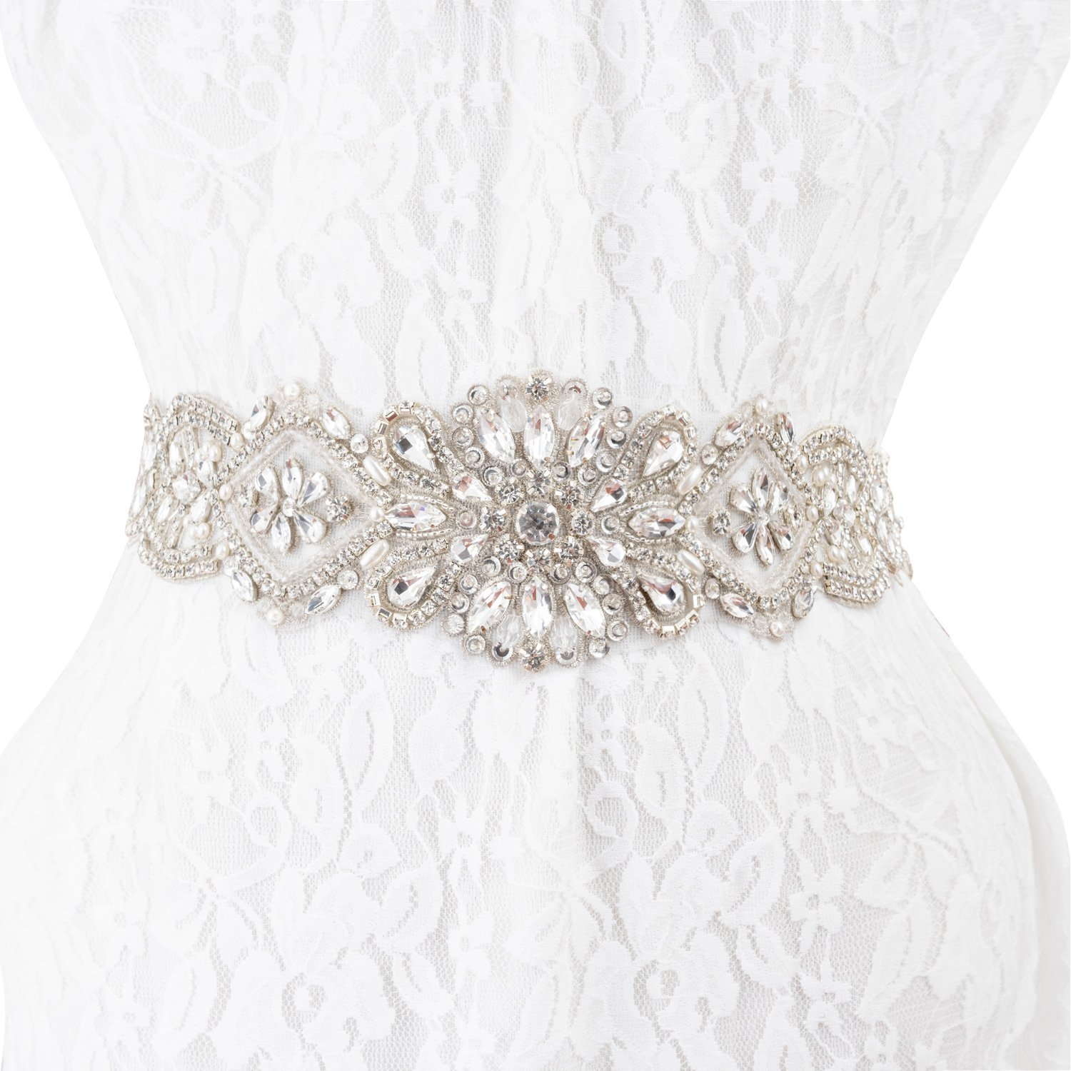 Bridal Wedding Dress Applique Belts, Wedding Bridal Sash Applique Crystal Belt