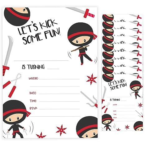 Amazon.com: Ninja – Tarjetas de invitación de 3 cumpleaños ...