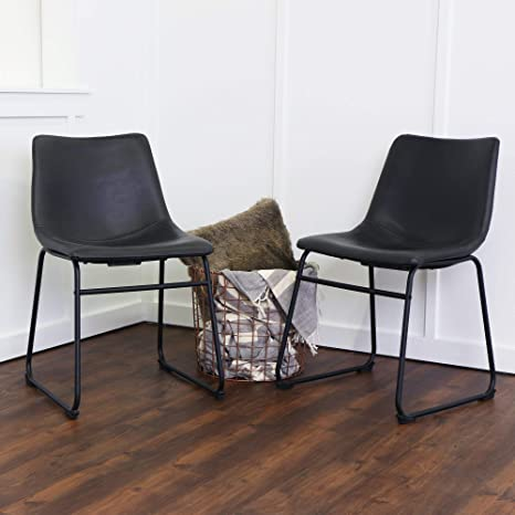 Phenomenal Amazon Com We Furniture Black Faux Leather Dining Chairs Pabps2019 Chair Design Images Pabps2019Com