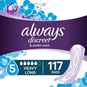 Always Discreet Incontinence Pads for Women, Maximum Absorbency, Long Length, 39 Count - Pack of 3 (117 Total Count) (Packaging May Vary)