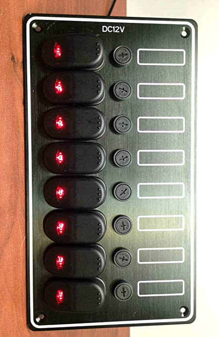 Vertical Aluminum Rocker Switch Panel with 6 Switches Boat Marine