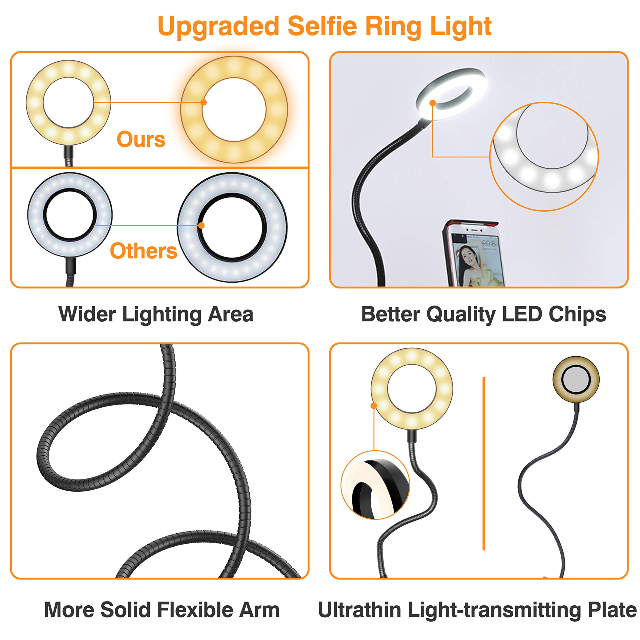 Selfie Ring Light, UPGRADED Selfie Light with Cell Phone Holder Stand for Live Stream Makeup Including Remote Shutter, LED Camera Light 3 Light Mode 10 Level Brightness Flexible Arm for iPhone/Android by Erligpowht (Image #2)