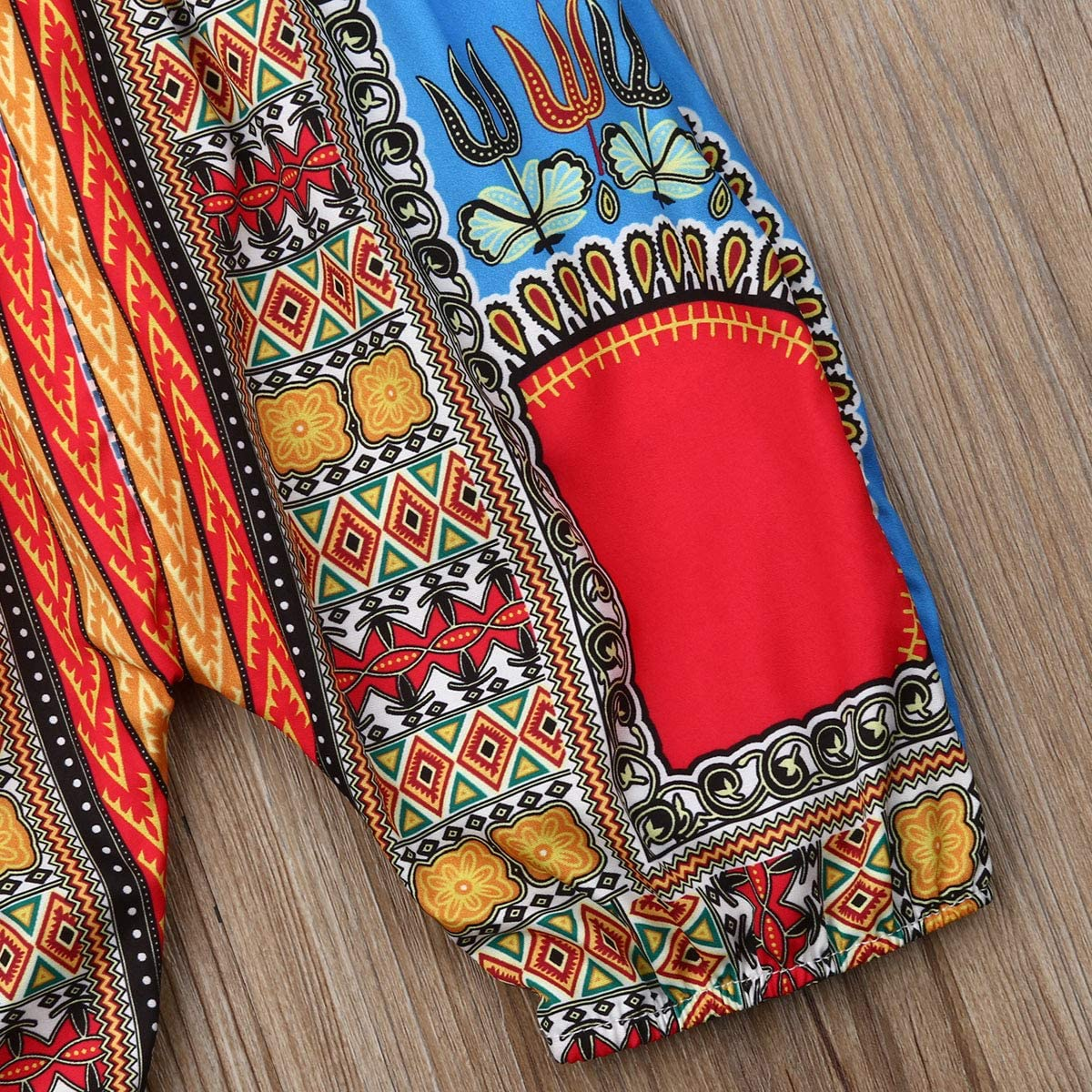 Suefunskry Baby Girls African Dashiki Print One-Piece Rompers Jumpsuit Headband Toddler Outfit