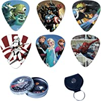BluesBay Premium Celluloid Guitar Picks-12 Pack Includes Thin, Medium & Heavy Gauges-For Electric,Acoustic,Bass Guitar-Bundle W/Free Metal Box+ Leather Key Chain Pick Holder (Anime)