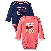 Carter's Girls' 2-Pack Long Sleeve Bodysuit, Family, 3 Months