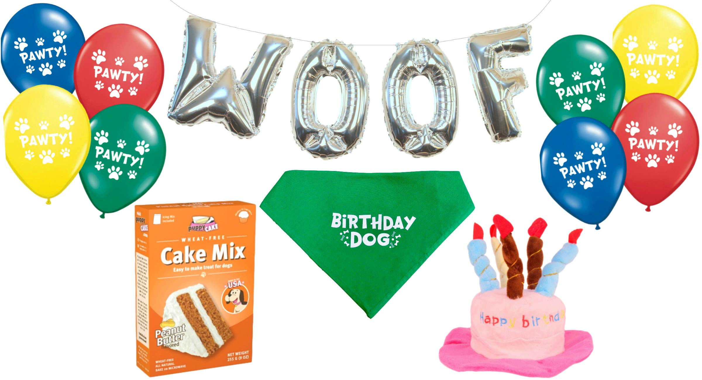 f48c99e56db Dog Birthday Party Decorations Kit by Blast in a Box (Pink Hat)  Puppy Cake  Mix