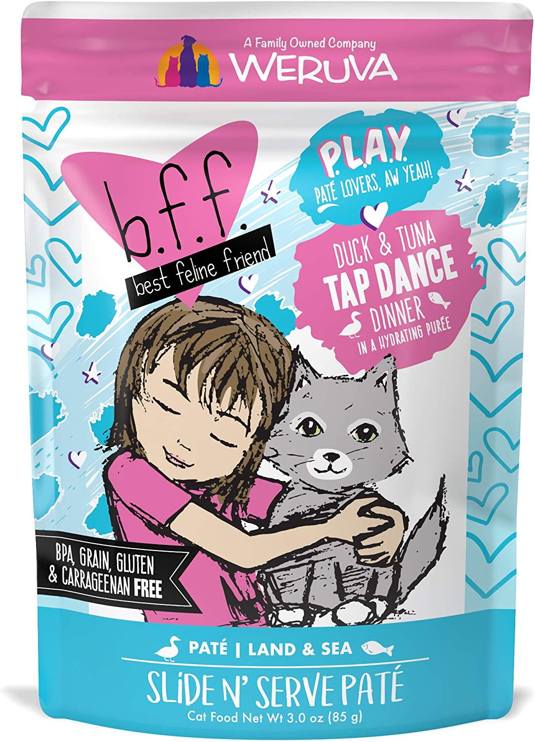 B.F.F. PLAY - Best Feline Friend Paté Lovers, Aw Yeah!, Duck & Tuna Tap Dance with Duck & Tuna, 3oz Pouch (Pack of 12)
