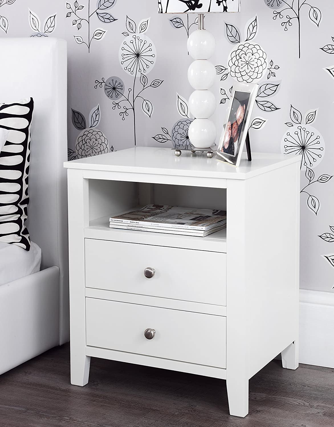 Brooklyn White Bedside Table with 2 drawers and shelf metal