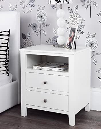 Brooklyn White Bedside Table with 2 drawers and shelf, metal runners,  dovetail joints,