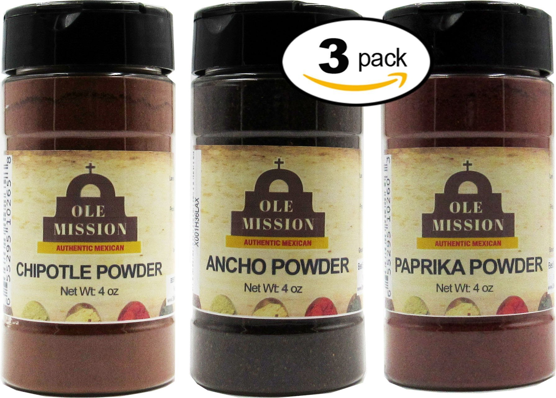Chipotle, Smoked Paprika, Ancho Powder 3 Pack Mexican Cooking Bundle - Great For Tacos, Rubs, Pork, Mole, Fajitas, Menudo, Chorizo by Ole Mission by Ole Mission (Image #1)