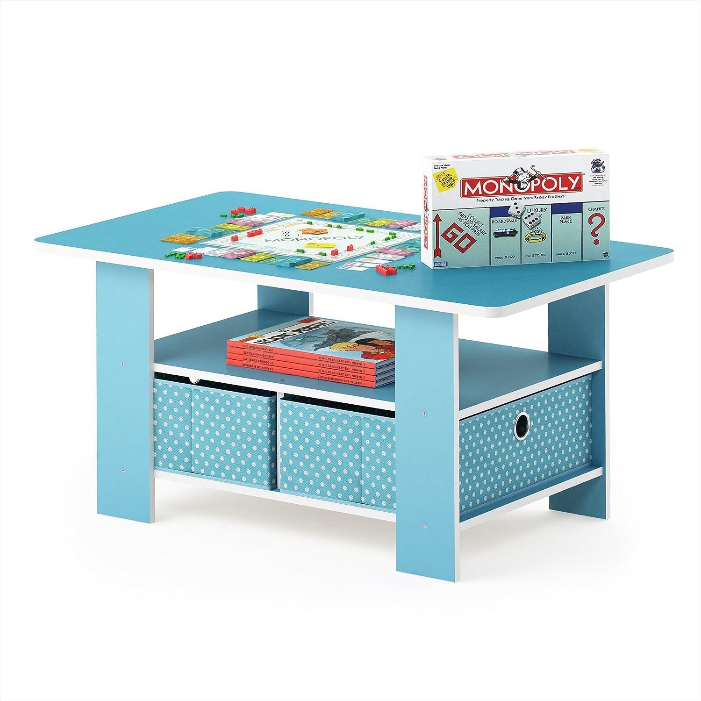 Amazon.com: Furinno 11158LBL/LBL Andrey Bin Drawer Coffee Table Light Blue:  Kitchen U0026 Dining