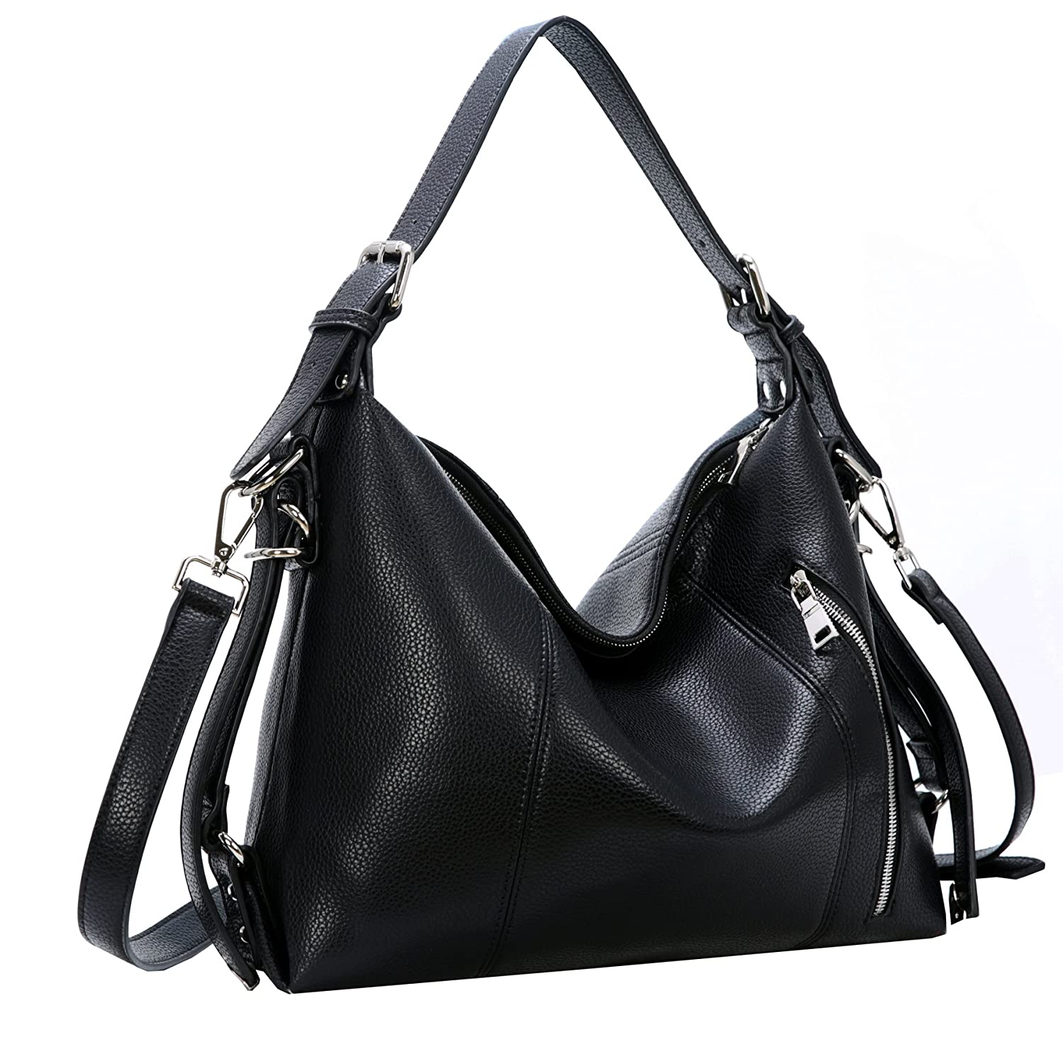 c0807deaa3 Amazon.com  Heshe Womens Leather Shoulder Handbags Large Capacity Tote Purse  Top Handle Crossbody Bags Satchel for Office Lady (Black-PU leather)  Shoes