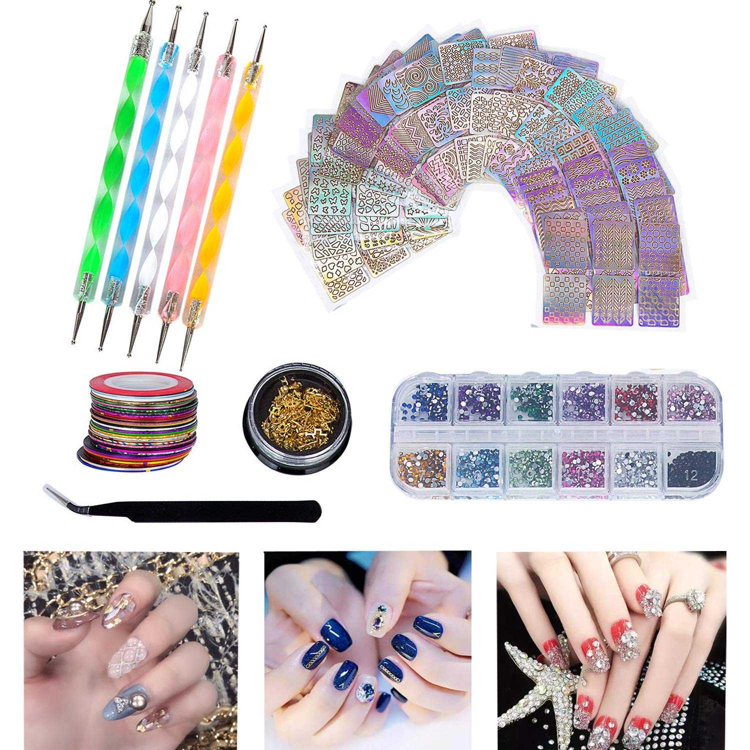 Hakkin 62 Pcs DIY Nail Art Tools Decoration Kit, Set Include: 12 Colors Nail Rhinestones, 30 Pcs Tape Line, 24 Pcs Vinyls Nail Stencil Sticker Sheets Set & 5 Pcs Rhinestones Decorations Dotting Tool by Hakkin