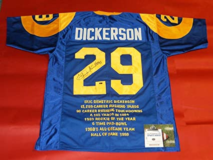 super popular 4ba08 5a840 ERIC DICKERSON AUTOGRAPHED LOS ANGELES RAMS THROWBACK STAT ...