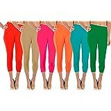 Basic Solid Footless 3/4 Length Leggings/Capri Leggings