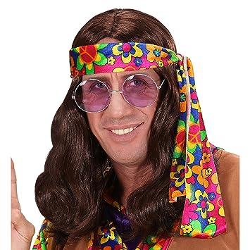WIDMANN 6497r peluca hippie, hombre, marrón, One size ...