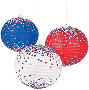 Fun Express - Patriotic Confetti Lanterns (6pc) for Fourth of July - Party Decor - Hanging Decor - Lanterns - Fourth of July - 6 Pieces