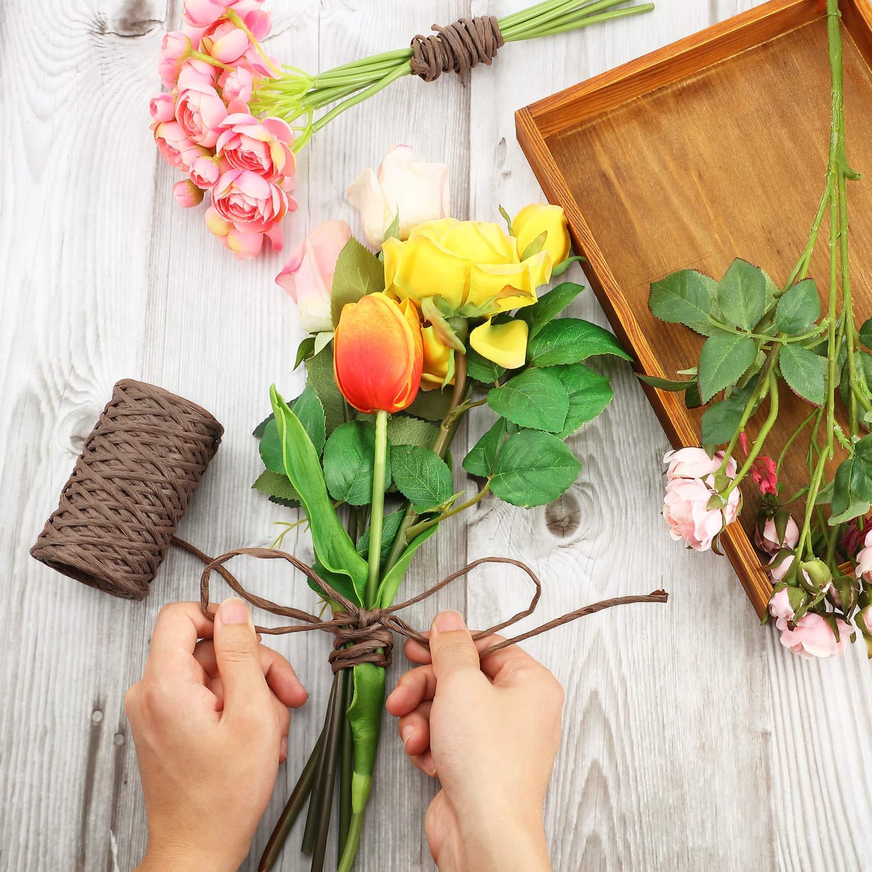 Alambre Floral Alambre de Vid Atar Alambre Alambre R/ústico Alambre de Embalaje para Ramos de Flores Marron Oscuro, 65 Pies