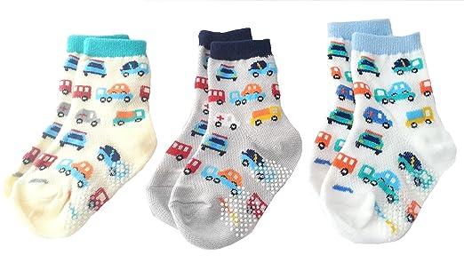 Baby Boy 3 Pack Summer Anti Skid Cotton Socks Cream Grey White