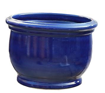 Pot De Fleur Bleu O 25 X 19 Cm Avec Trou De Drainage Forme