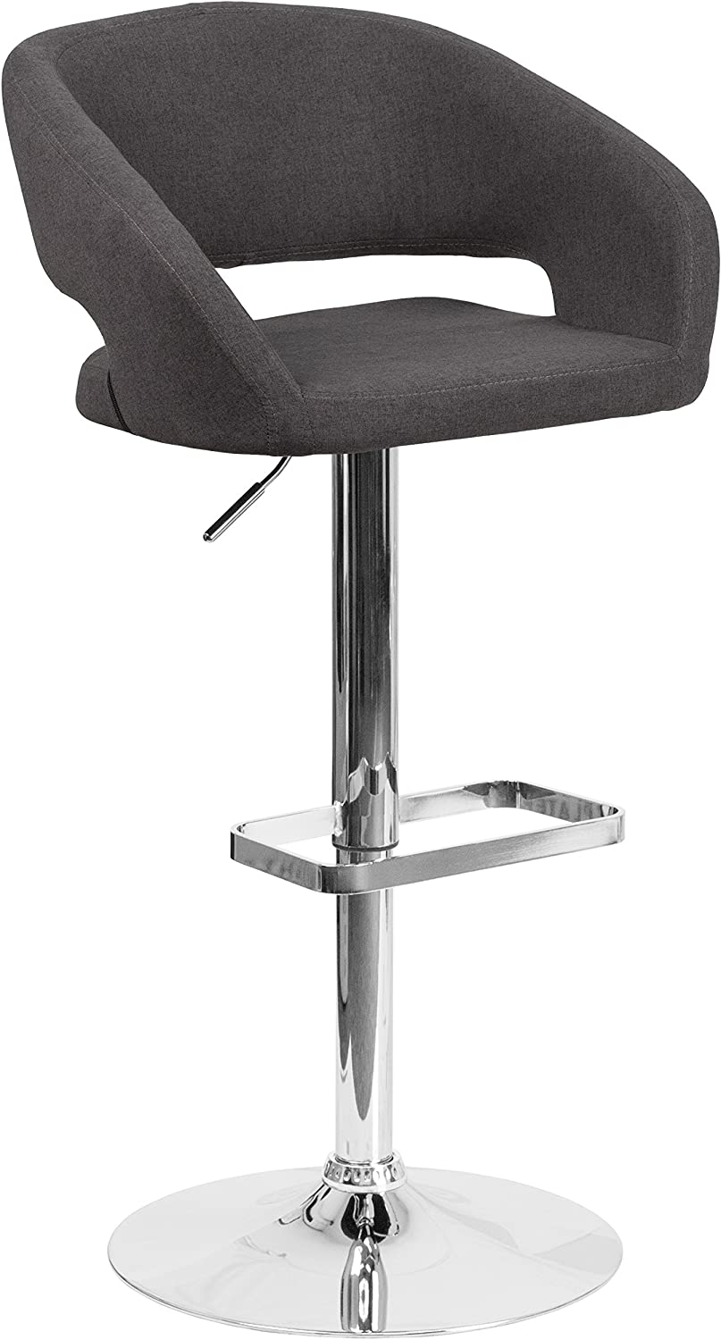 Flash Furniture Contemporary Charcoal Fabric Adjustable Height Barstool with Rounded Mid-Back and Chrome Base