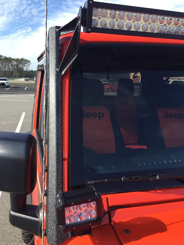 Yitamotor Jeep Wrangler Jk 52 Inch Led Light Bar Upper Wiring Windshield Mounting Brackets With A Pillar For 18w 4 Spotlight Pods Automotive