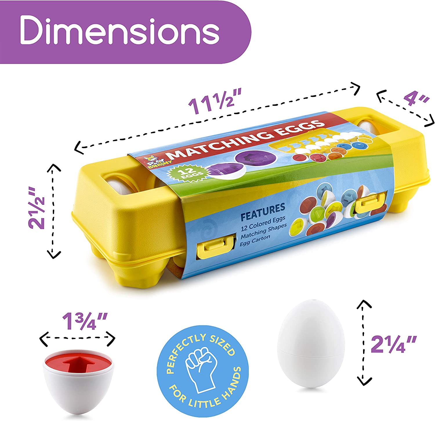 Easter Egg Toy Great for Color and Shape Recognition Development Educational Montessori STEM Toy for Toddlers and Preschoolers Set of 12 Shape Eggs, Play Brainy Shape and Color Matching Eggs