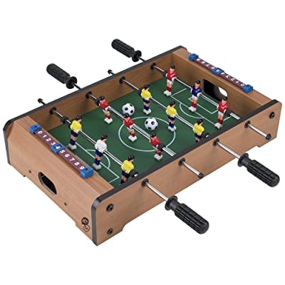 Tabletop Foosball Table- Portable Mini Table Football / Soccer Game Set with Two Balls and Score Keeper for Adults and Kids by Hey! Play!: Toys & Games