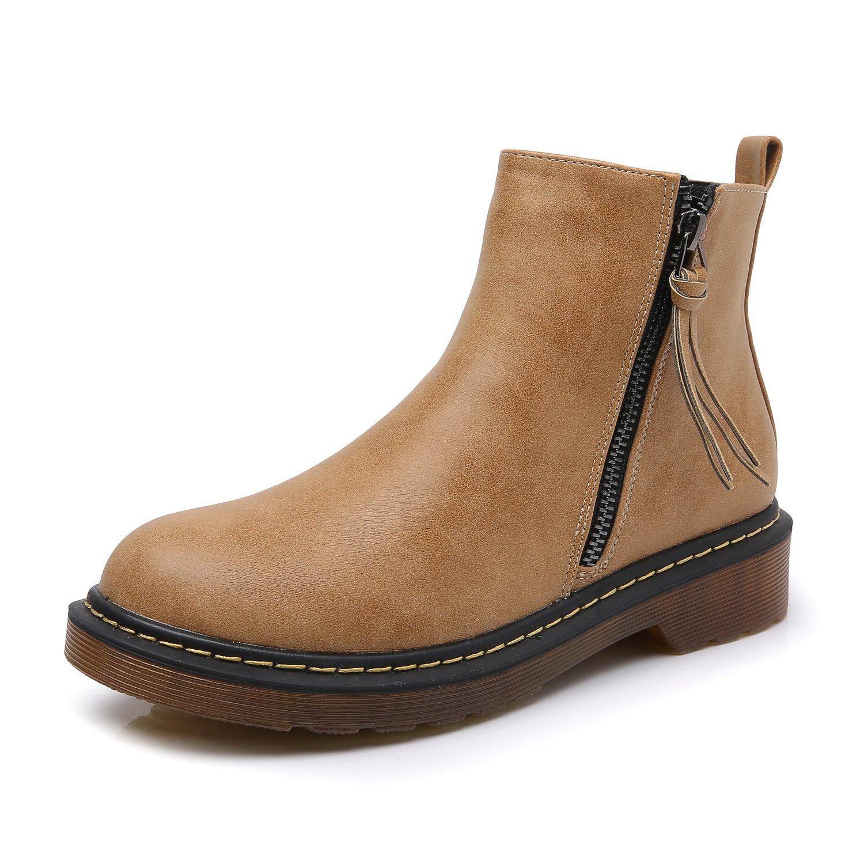Smilun Kids¡¯s Chelsea Ankle Chelsea Boots Zip Flats Low Heel with Block Western Chunky Heel Chelsea Boots Zip for Kids Brown US6 by Smilun (Image #1)
