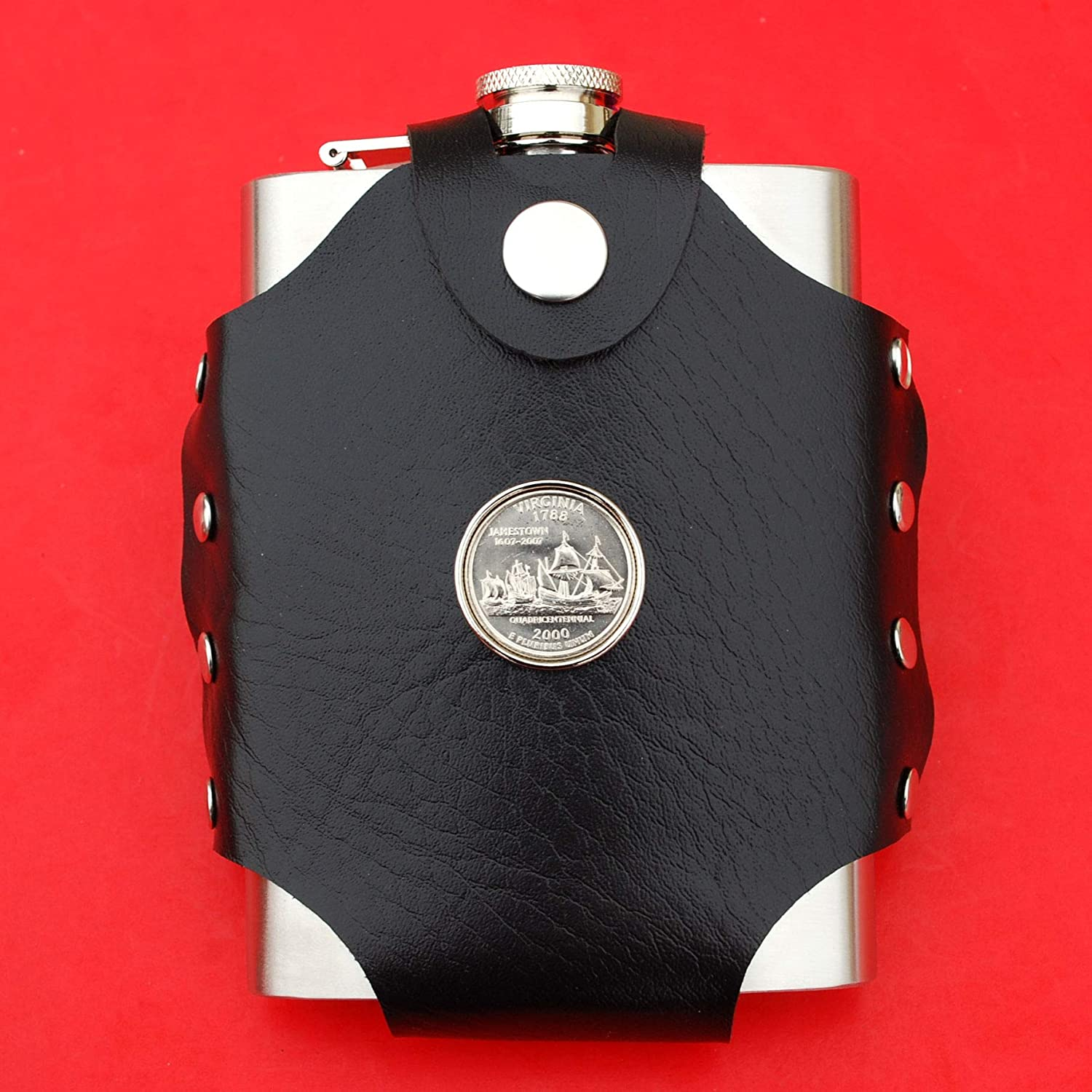 Water Liquor Wine etc. US 2000 Virginia State Quarter BU Uncirculated Coin Leak Proof Black PU Leather Wrapped Stainless Steel 8 Oz Hip Flask