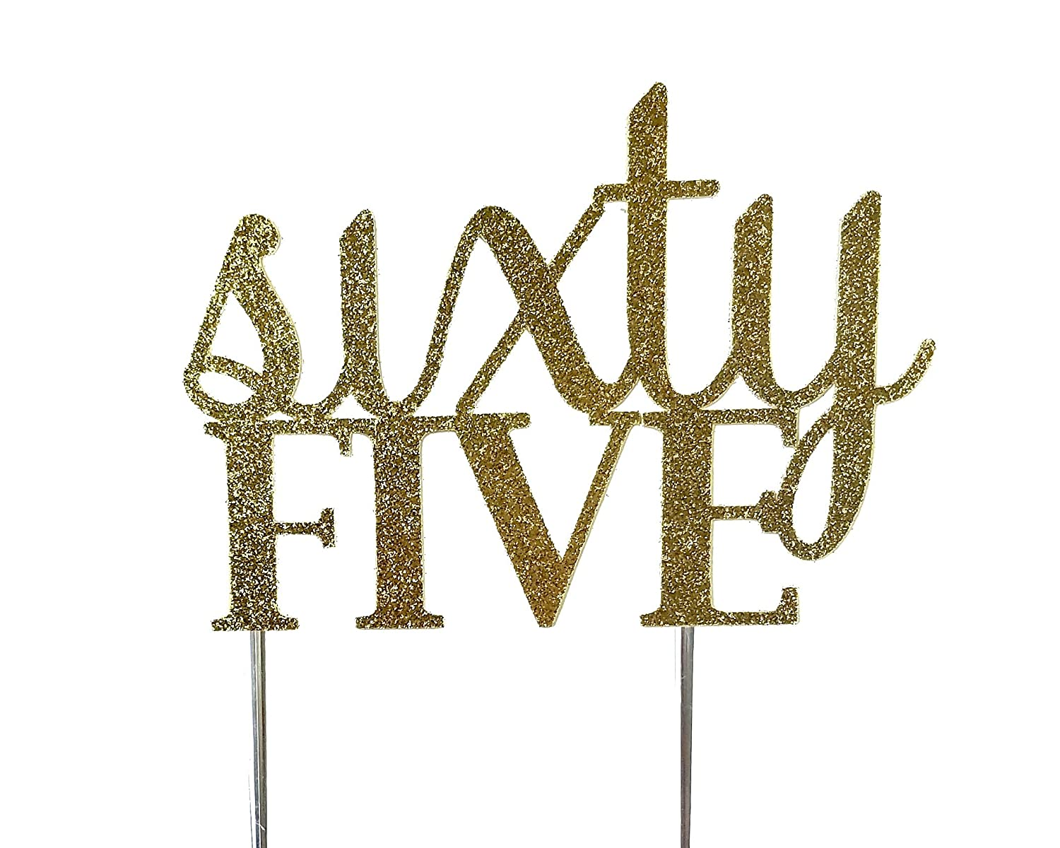 Handmade 65th Sixty-Fifth Birthday Cake Topper Decoration- sixty five - Made in USA with Double Sided Gold Glitter Stock