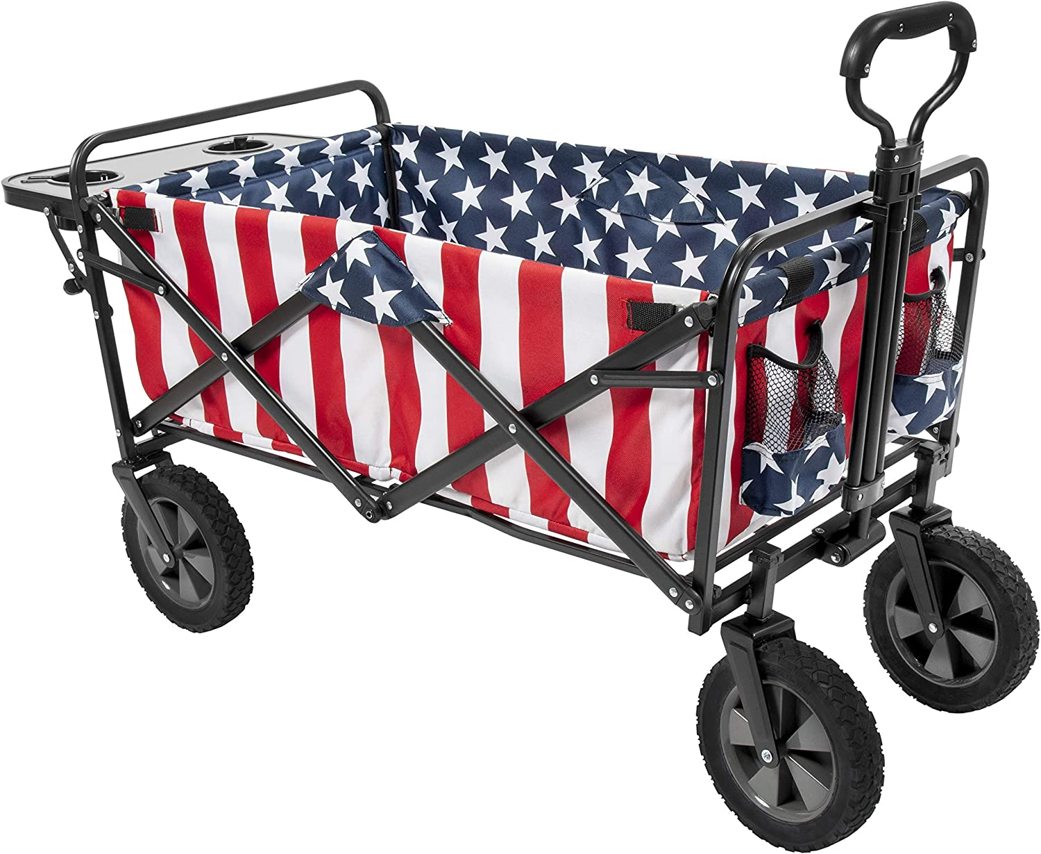 Mac Sports Collapsible Folding Outdoor Utility Wagon (Wagon with Side Table) (Utility, American Flag)