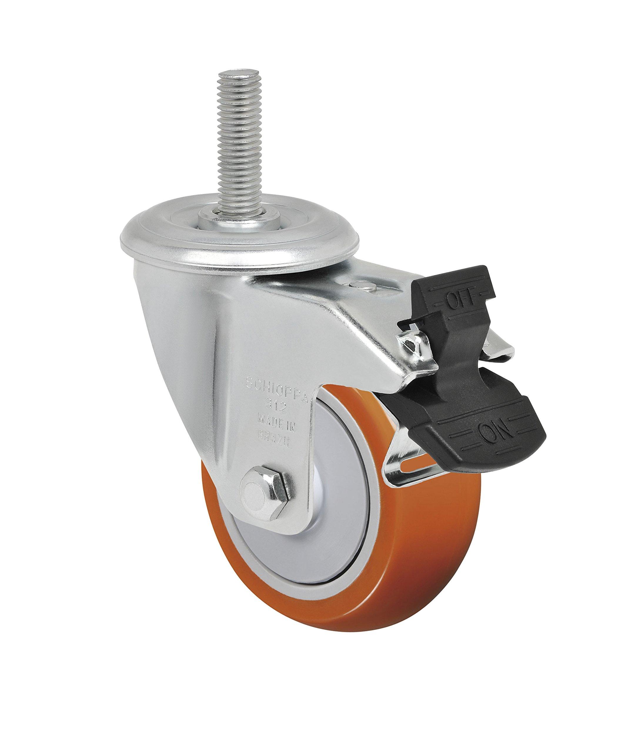Schioppa L12 Series, GLEIH 312 UPE G, 3 x 1-1/4'' Swivel Caster with Total Lock Brake, Non-Marking Polyurethane Precision Ball Bearing Wheel, 175 lbs, 1/2'' Diameter x 2'' Length Threaded Stem