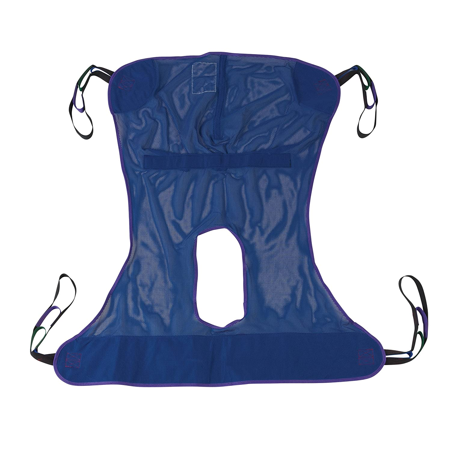 Drive Medical Full Body Patient Lift Sling with Commode Cutout Option, Blue, Medium
