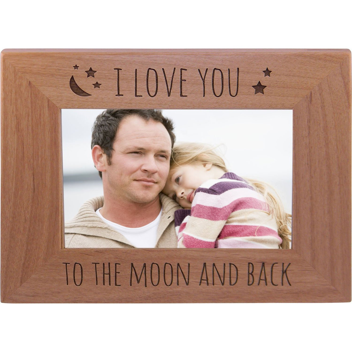 CustomGiftsNow I Love You To The Moon And Back - Wood Picture Frame Holds 4x6 Inch Photo - Great Gift for Mothers's, Father's Day, Birthday,Valentines Day, Anniversary or