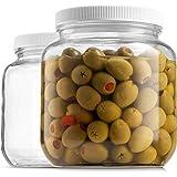 Half Gallon Glass Mason Jar (64 Oz) Wide Mouth with Plastic Airtight Lid - USDA Approved BPA-Free Dishwasher Safe Canning Jar