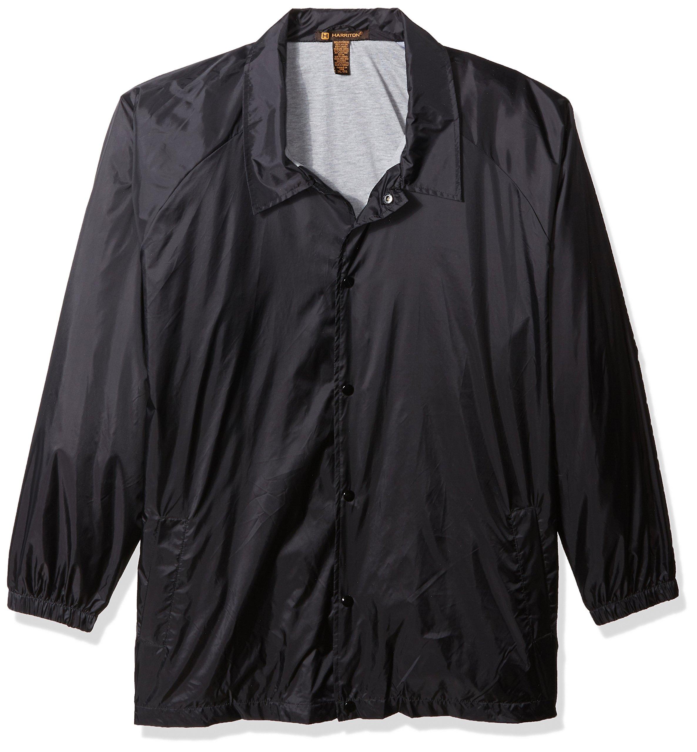 Harriton Men's Raglan Sleeves Nylon Staff Jacket Black XX-Large by Harriton