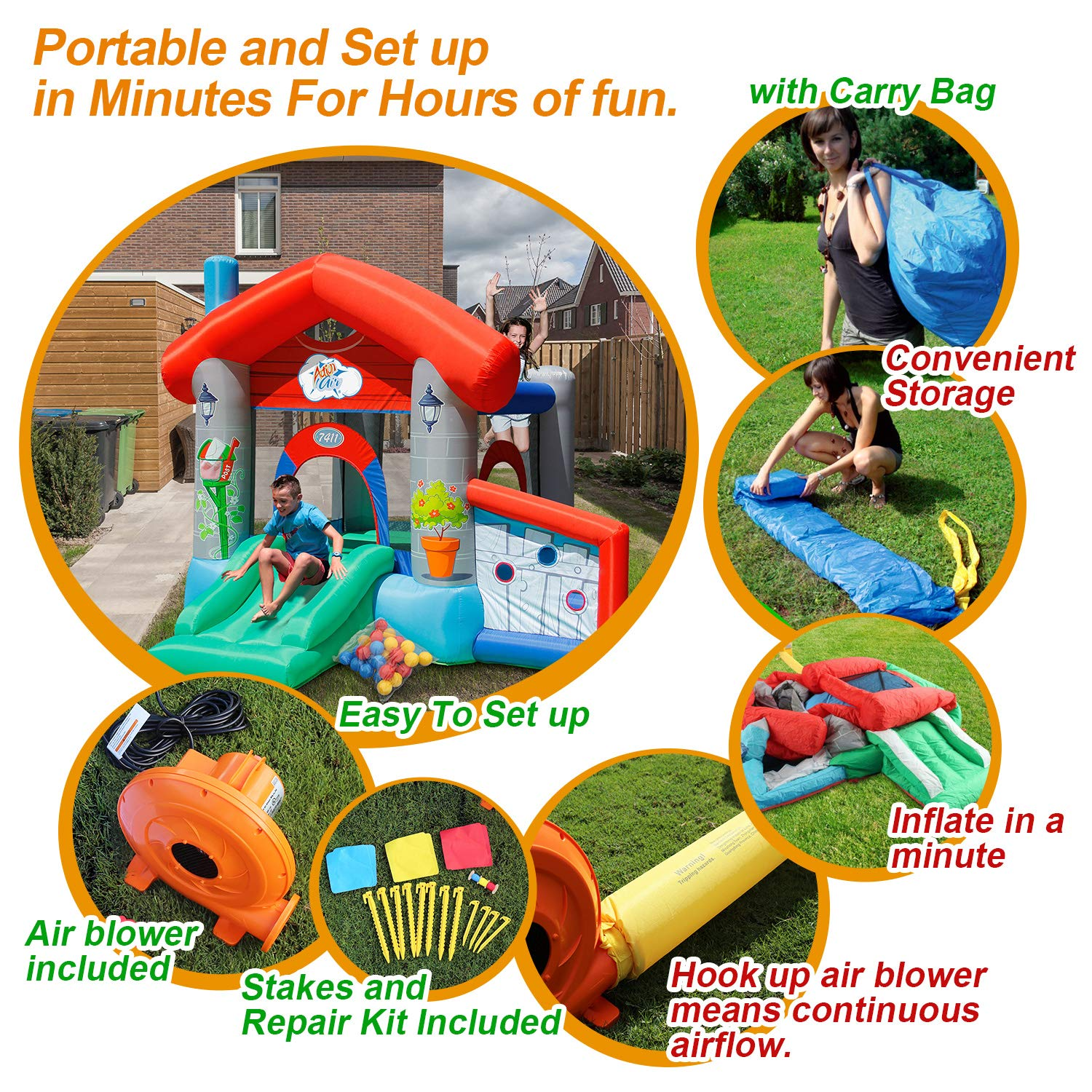 ACTION AIR Bounce House, Air Bouncer with 30 Ball, Inflatable Bouncer with Air Blower, Jumping Castle with Slide, for Outdoor and Indoor, Durable Sewn with Extra Thick Material, Idea for Kids by ACTION AIR (Image #5)