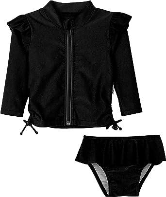 SwimZip Girl Short Sleeve Rash Guard 2 Piece Swimsuit Set Sweet Pineapple Orange