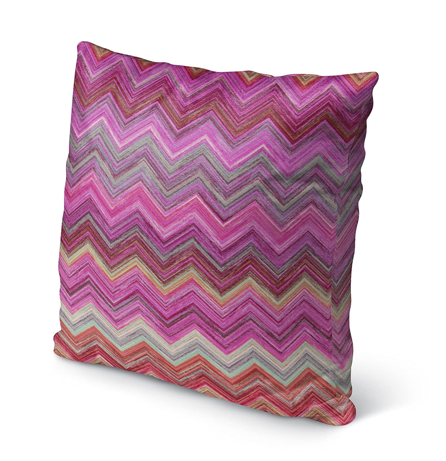 Size: 16X16X6 - Pink//Purple//Blue MGTAVC2039OD16 - BOHEMIA Collection KAVKA Designs Pink Chevron Indoor-Outdoor Pillow,