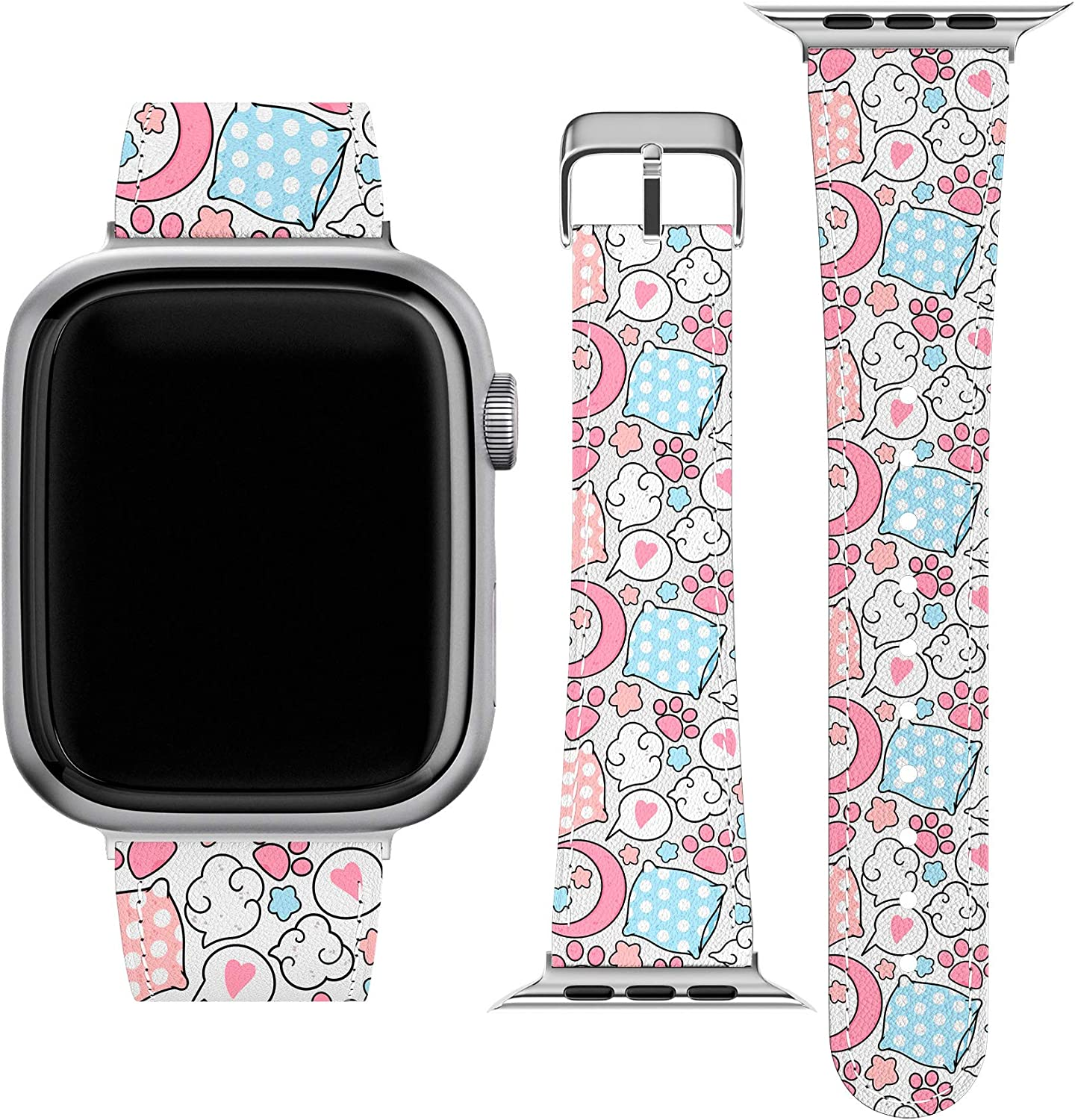 Lex Altern Band Compatible with Apple Watch Series 6 SE 5 4 3 2 1 38mm 40mm 42mm 44mm Moon Replacement Strap for iWatch Girly Thin Wristband Pink Paws Cute Print Kawaii Durable Polka Dot Stylish wh543