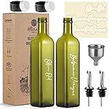 Botella dispensadora de aceite de oliva – 2 paquetes de 17 oz llovizna de vidrio oscuro con boquilla vertedor – Contenedor de
