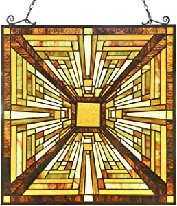 Capulina Victorian Handcrafted Stained Glass Windows Panels Hangings Art Enhance Home and Office, Handcrafted Stained Glass Panel with Chain - Abstract Art Style (W19.6 x H20.6 inches)