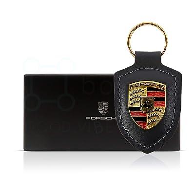 Boxiti Genuine Key Chain Ring for Porsche Vehicle Keys (82mm x 43mm) Porsche Crest Keyfob with Fine Black Leather Fob for Porsche Owners: Automotive